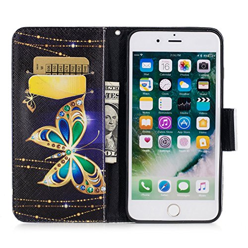 iPhone 7 plus Flip Handycover, iPhone 7 plus Bunte Stil Schutzhüllen, Aeeque® Slim Full Body Premium [Standfunktion Kartenfächer] Malerei Girl Pink Marmor Muster Handy Schutz Hülle Wallet Case Cover S Luxus Gold Schmetterling
