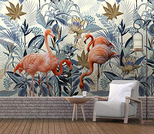 VVBIHUAING 3D Wand Wandbilder Tapete Aufkleber Dekorationen Pflanze Flamingo Schlafzimmer Wohnzimmer Sofa Art Kinderküche (W) 300x(H) 210cm -