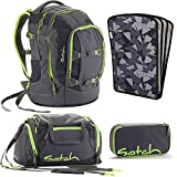 satch by Ergobag Phantom 4-teiliges Set Rucksack, Sporttasche, Schlamperbox & Heftebox Schwarz