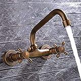 WANG rubinetto Lavabo da Incasso in Rame Disegno nel Muro Doppio Manico Idilliaca Retro Miscelatore lavabo a Muro, A
