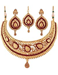 I Jewels Gold Plated Necklace Jewellery Set For Women (M4086M)