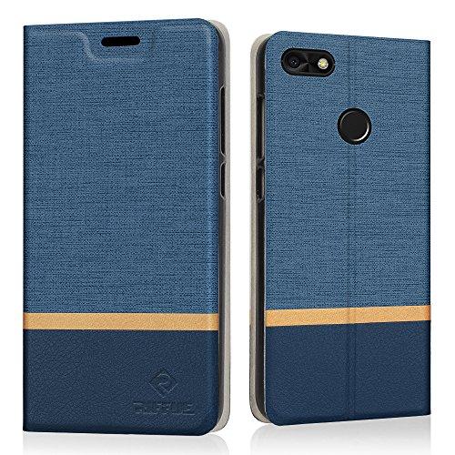 RIFFUE Huawei Y6 Pro 2017 / P9 Lite Mini Hülle, Dünnes Cover Retro Denim Muster PU Leder Schutz Folio Schützende Abdeckung Klapphülle Case Huawei Y6 Pro 2017 / Huawei P9 Lite Mini(5,0 Zoll) - Blau