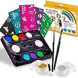 Peinture Enfant Kit de peinture de visage. 40 Pochoir gratuit inclus.Utilisé pour la peinture de corps, ou les enfants de maquilla Notre kit contient la palette 8 couleurs, paillettes,brosses éponges