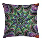 Throw Pillow Cushion Cover, Psychedelic Tentacles Converging into Flower Form Infinity Spinning Focus Design, Decorative Square Accent Pillow Case, 18 X 18 Inches, Green Purple