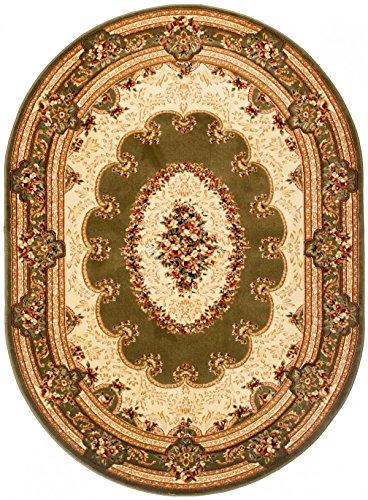 Oval Traditioneller Klassischer Teppich Für Ihre Wohnzimmer Esszimmer und Schlafzimmer - Grün Creme Beige - 3D Effekt Konturenschnitt - Sehr dicht Gewebt Robust Pflegeleicht