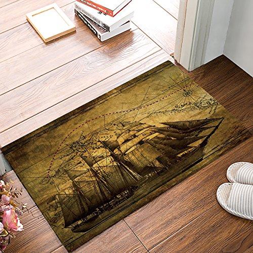 Funy decor personalizzato zerbini vintage nave pirata con tesoro mappa zerbino a coste per interni ed esterni 45,7x 76,2cm tappeto per ingresso anteriore tappetini antiscivolo a basso profilo