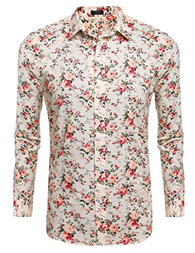 L'Amore Coofandy Mens Floral Shirt Casual Button Down Long Sleeve Top