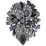 Tenye da donna Crystal party stile vintage fiore foglia grappolo spilla grigio W/nero black-tone