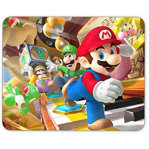 Mouse Pad - Super Mario Theme Full Color Anti-Slip Rubber Backed Mousepad Made in USA by Acom Supplies LLC