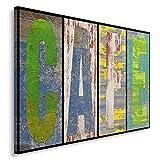 Feeby, Leinwandbild, Bilder, Wand Bild, Wandbilder, Kunstdruck 40x60cm, CAFE, VINTAGE, VORSTÄNDE, BLAU, GRÜN, GELB