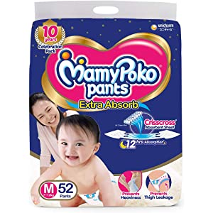 MamyPoko Pants Extra Absorb Diaper   Medium Size, Pack of 52 Diapers  M 52