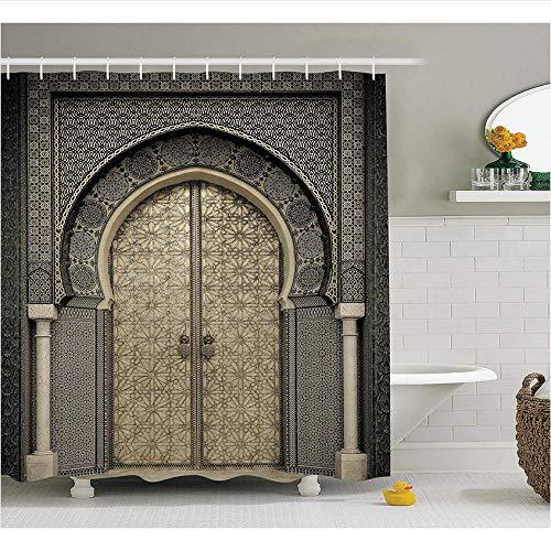 XQWZM Marokkanische Dekor Duschvorhang im Alter von Tor geometrische Muster Tür Design Eingang orientalischen Stil Bad-Accessoires