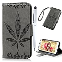 For Samsung Galaxy S6 Edge Leather Case MAXFE.CO Maple Leaf Pattern Embossed PU Leather Case Cover With Magnetic Clasp In Back Inlaid Soft TPU Back Holder PU Leather Wrist Lanyard [Shock Absorption] Viewing Stand Function Card Slots Cash Pouch Notebook Design Elegant Folio Flip Bumper Holster Case C
