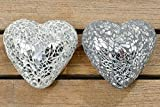 2er Set wunderschönes Glasherz Mosaik in edlem silber Design Herz Dekoration
