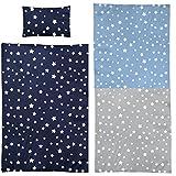 Aminata Kids süße Kinderbettwäsche Bettwäsche Kinder 100x135 cm Sterne hellblau Stern Sternmotiv flauschige Baumwolle weiß Bettwäsche-Kinder serinity-blau