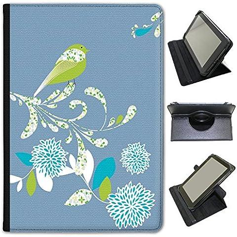 Elegante (piel sintética, función atril), diseño de flores de pájaros sobre para Bush Tablets negro azul (Denim Blue) Bush Spira B2 10 inch