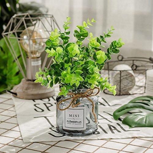 Jnseaol fiori artificiali fiore artificiale fiore artificiale finestra davanzale festa di nozze albergo decorazioni per la casa regali per feste vaso di vetro diy green-34