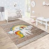Kinderteppich Kinderzimmer Herzchen Regenbogen Einhorn Konturenschnitt Beige Weiß, Grösse:120x170 cm