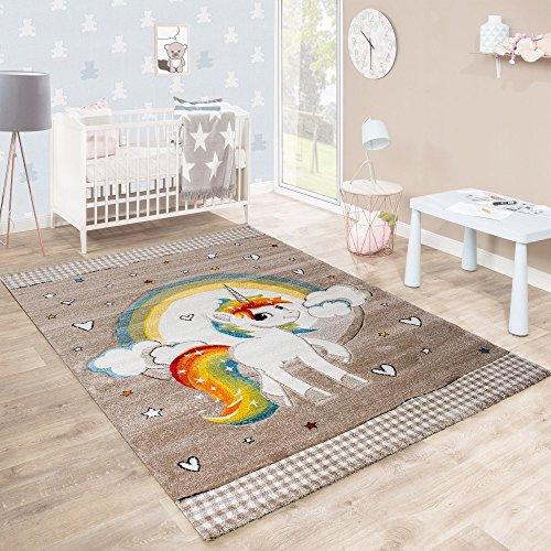Kinderteppich Kinderzimmer Herzchen Regenbogen Einhorn Konturenschnitt Beige Weiß, Grösse:80x150 cm