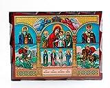 orthodoxe Ikone Wandbild auf massivem alten Holz 15X20 orthodox kirchlich