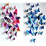 ElecMotive(TM) 12 Pcs Purple + 12 Pcs Blue 3D Butterfly Stickers Random Mixed Packing Home Decoration DIY Removable 3D Vivid Special Man-made Lively Butterfly Art DIY Decor Wall Stickers For Wall Decor Home Decor Wall Art Kid
