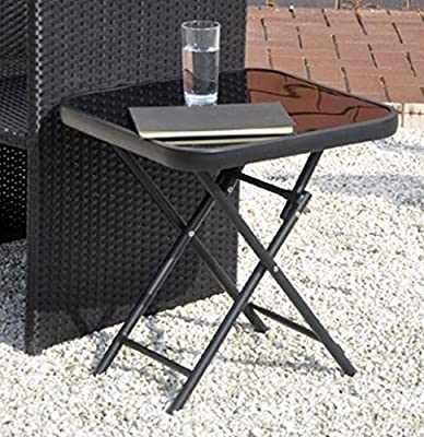 Kingfisher FSDT Folding Drinks Side Garden Patio Table - Black - low-cost UK coffee table shop.