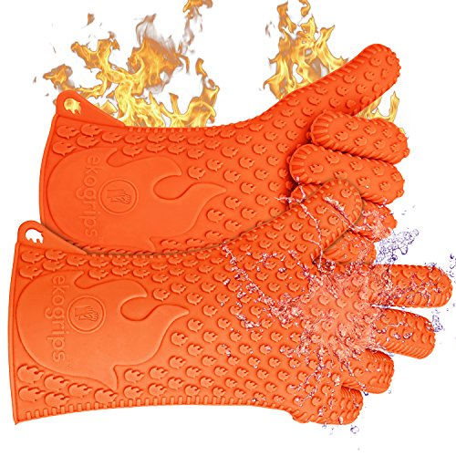 NEW 2016 Long Ekogrips Max Heat Silicone BBQ Gloves - Best Brand Heat Resistant Cooking And Grill Gloves - Protect Your Hands And Avoid Accidents - Insulated Waterproof Five-Fingered Grip - L/XL