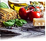 Frische Spaghetti Tomaten Parmesan Format: 80x60 auf Leinwand, XXL riesige Bilder fertig gerahmt mit Keilrahmen, Kunstdruck auf Wandbild mit Rahmen, günstiger als Gemälde oder Ölbild, kein Poster oder Plakat