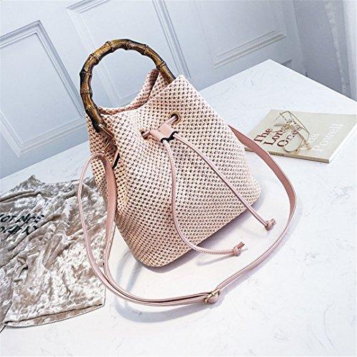 Frauen Sommer Strand Handtasche Female Stroh Taschen Reise Stricken Lady Umhängetasche Kordelzug Casual Weave Crossbody Pink