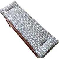 Wcgcg Garden Bench Cushion with Fixing Ties, 2 or 3 Seater Bench Mat Pad Patio Bench Pad lounger cushion Replacement Mattress Pad Indoor Outdoor, 2cm Thick Upgrade, Washable,Grey,87x28cm