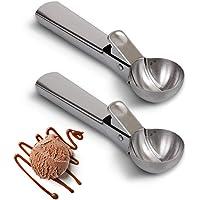 homEdge Cuillère à crème glacée, 2 paquets de cuillère à crème glacée en acier inoxydable avec Easy Trig
