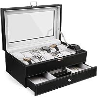Boîte à Montre Double Couche, 12 Montres et Miroir, Présentoir à Montre et Bijoux, Dimensions: 33 x 19.5 x 13.2 cm…