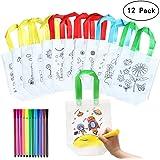 Yuccer Sac a Colorier, 12 PCS Sac Coloriage avec 24 PCS Stylo pour Tissu Enfant Sac Cadeau Anniversaire Enfant Sacs à Main Ré