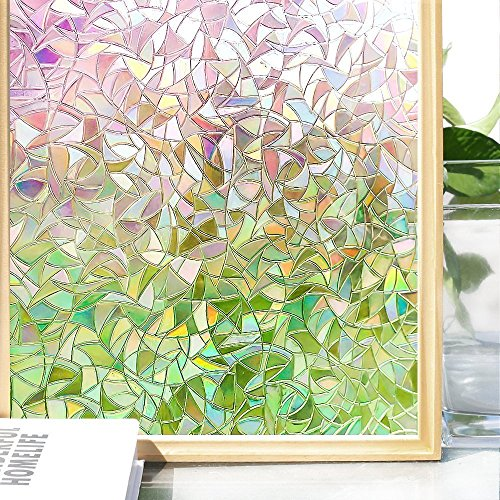 Do4U 3D No-Glue Statische Illuminative Dekorative Sichtschutz Glas Fenster Film Aufkleber UV Rainbow Muster Upgrade Version für Home Küche Büro, Multi, 45*200cm