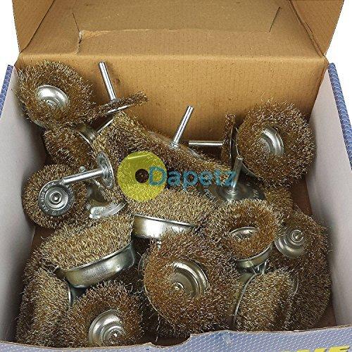 dapetz® 24-Draht Pinsel-Set gehärtetem verquetschen & Cup Pinsel flach Rad (Drahtreifen-set)