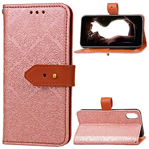 CaseforYou Hülle iphone X Schutz Gehäuse Hülse Vintage Leather Wallet Case Flip Stand Cover Full Body Pocket Cover with Card Holders and Genuine Leather Buckle Schutzhülle für iphone X Handy (Purple) Rose Gold
