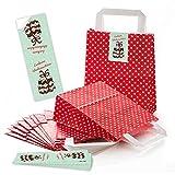 10piccolo rosso bianco punteggiato Sacchetti regalo sacchetti di carta Natale con fondo + Henkel (18x 8x 22cm) + 10pezzi verde chiaro, Mint Marrone di Natale Adesivo bella Fest Natale di Cookie
