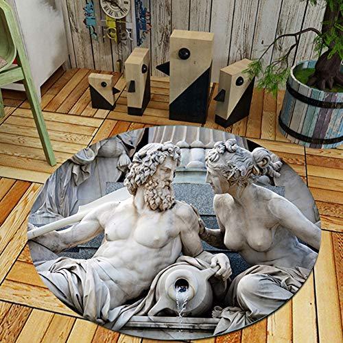 Thole Runden Teppich Modern Skulptur Muster Wohnzimmer Schlafzimmer Waschbar Rutschfester Boden Polyester Drucken Spielmatte,Sculpture,200CM - Skulptur In Der Runde