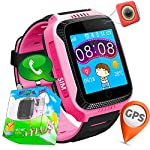 TURNMEON 144 Touch Screen GPS Tracker Smart Watch Phone For Kids With Pedometer Camera SIM Calls Anti Lost SOS Bracelet Smartwatch For Easter Children Girls Boys Birthday Gifts PinkBlack