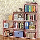 Deesjue Bücherregal aus mehrlagigem Buchspeichergitter aus Stahlrohr-Vliesstoff Lucky Cherry