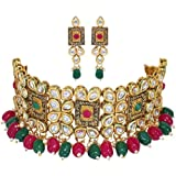 I Jewels Traditional Gold Plated Kundan & Beads Choker Necklace Jewellery Set for Women (K7082QG)