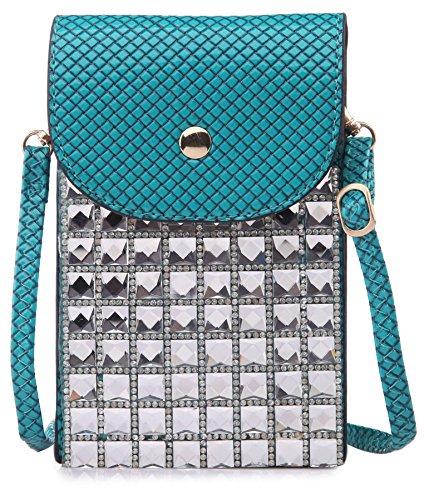 BHBS Femmes Cristal Place Bandoulière Messager Téléphone Cellulaire Bourse Pochette 11x17 cm (LxH) Turquoise