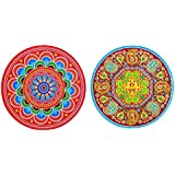 DollsofIndia Pair Of Rangoli Stickers - Dia - 9 Inches Each (RW95)