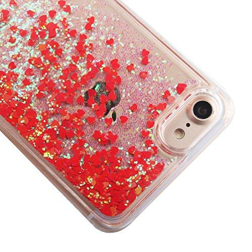 Custodia per iPhone 7 Case,Cover per iPhone 7,TOYYM - Love Heart Star Crystal Case Cover, Resistente Chiaro Trasparente [Bling Liquid] con divertente liquido flottante 3D con lussiosi glitter per iPho Color 15#