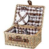 Cesta de picnic picnic maletín Paris para 2personas Cubiertos Platos vasos Sacacorchos Sal & Pimienta mimbre cerámica Cristal
