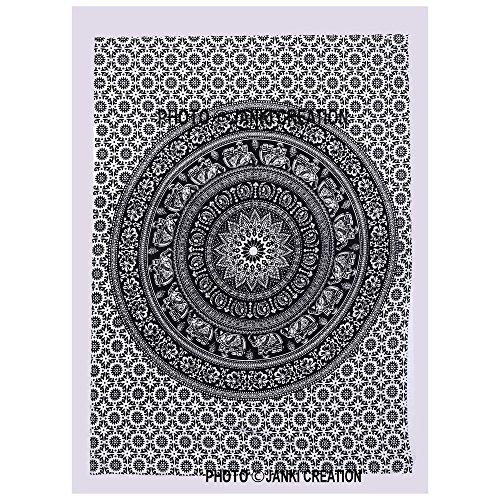 Janki Creation schwarz & weiß kleine Größe Poster, Hippie Hippie-Mandala Baumwolle Wandbehang, kleine Tapisserie Poster, Größe 40x 30, von Mandala Boho Bohemian indischen Design-Mandala Poster, (Poster-betten, Möbel)