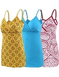 Mit Verstellbaren Tr/ägern Schwangeres Stillen Nursing Schwangerschaft Top Baumwolle Umstandskleidung Manci Nursing Top