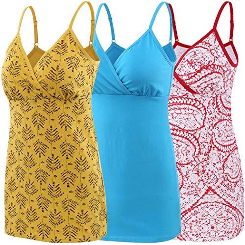 ZUMIY Schwangerschaft Stillen Top, Damen Baumwolle Umstandskleidung Schlaf Ärmellos Cami mit Verstellbaren Trägern (Medium, Red+Yellow+Lake Blue/ 3-pk) -