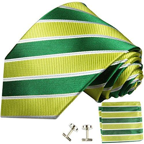 Cravate vert rayé ensemble de cravate 3 Pièces ( 100% Soie Cravate + Mouchoir + Boutons de manchette )