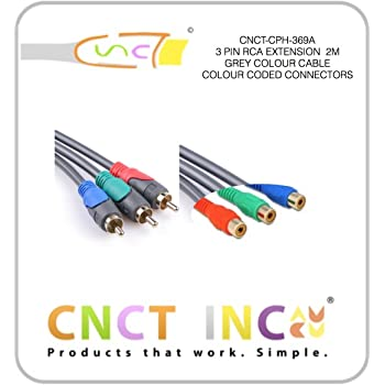CNCT Audio Video 3 RCA Extension Cable 5M - 3 Pin RCA Cable Male to Female 16 ft - Suitable for Display - Monitor - LCD - LED - TV with Composite AV Port from Sony - Samsung